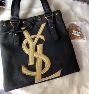 Auth YSL shoulder bag with free gold chain sling
